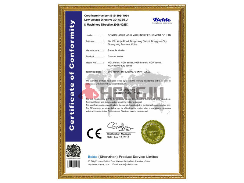 CE Certification of Crusher Series